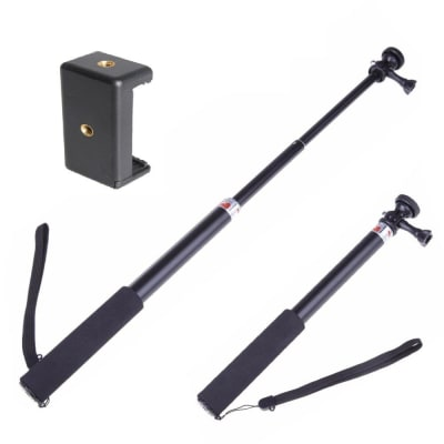 RELIABLE TELESCOPING EXTENDABLE MONOPOD TRIPOD POLE HANDHELD CAMERA SELFIE STICK MOUNT WITH MOBILE ATTACHMENT FOR SMARTPHONES,HERO 7/6/5/4,DJI OSMO, SJACM, EKEN, YI & OTHER ACTION CAMERAS