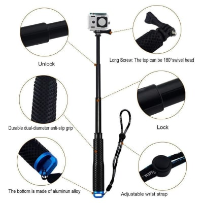 RELIABLE 36 INCH MONOPOD SELFIE STICK FOR GOPRO HERO 9/8/7/6 & ALL ACTION CAMERAS