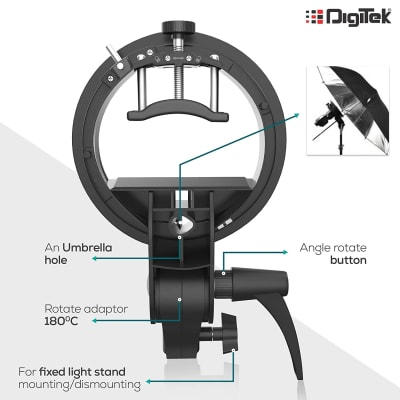 DIGITEK DFSB 003 S-TYPE SPEEDLITE BRACKET ELINCHROM MOUNT HOLDER | FOR SPEEDLITE FLASH SOFTBOX, BEAUTY DISH, SNOOT, REFLECTOR & PHOTOGRAPHIC UMBRELLA (DFSB-003)