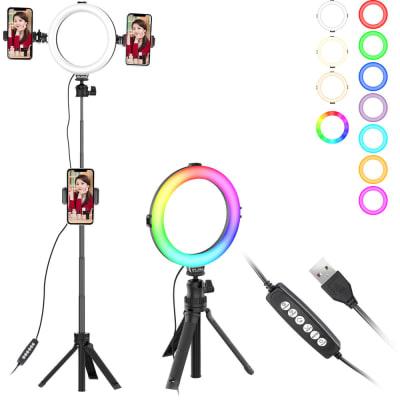 "ULANZI VIJIM K9 8"" RGB SELFIE RING LIGHT WITH 35.5"" EXTENDABLE TRIPOD STAND 2424"