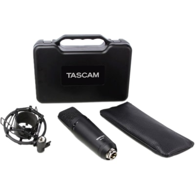 TASCAM TM-180 STUDIO CONDENSER MICROPHONE WITH SHOCKMOUNT, HARD CASE, AND ZIPPERED SOFT CASE