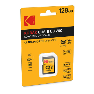 KODAK 128GB UHS-II U3 V60 ULTRA PRO SDXC MEMORY CARD