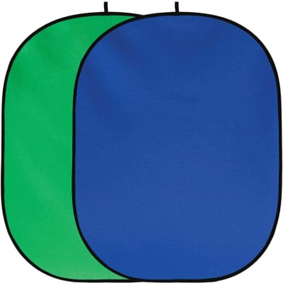 RELIABLE 2 IN 1 CHROMAKEY GREEN SCREEN CHROMAKEY BLUE SCREEN COLLAPSIBLE BACKDROP COLLAPSIBLE REVERSIBLE BACKGROUND 5'X7'