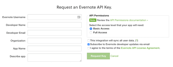 Request an Evernote API Key