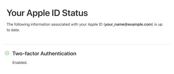 Two-factor Authentication Enabled | Apple