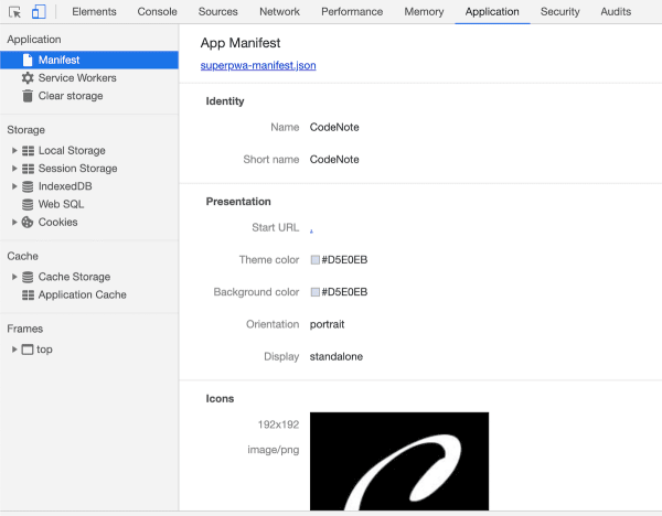 Application - Manifest| Chrome DevTools