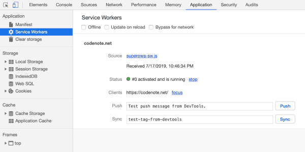 Application - Service Workers | Chrome DevTools
