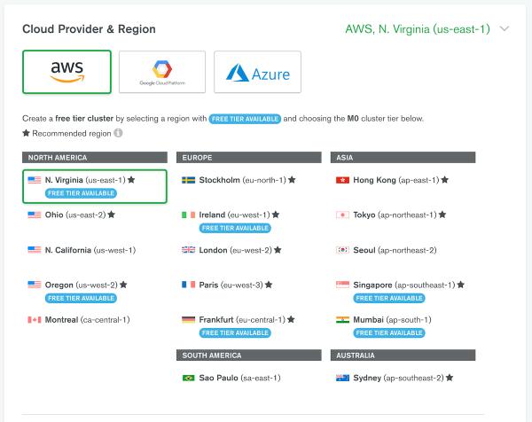 Cloud Provider & Region | MongoDB Atlas