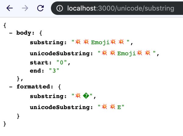 unicode-substring response json