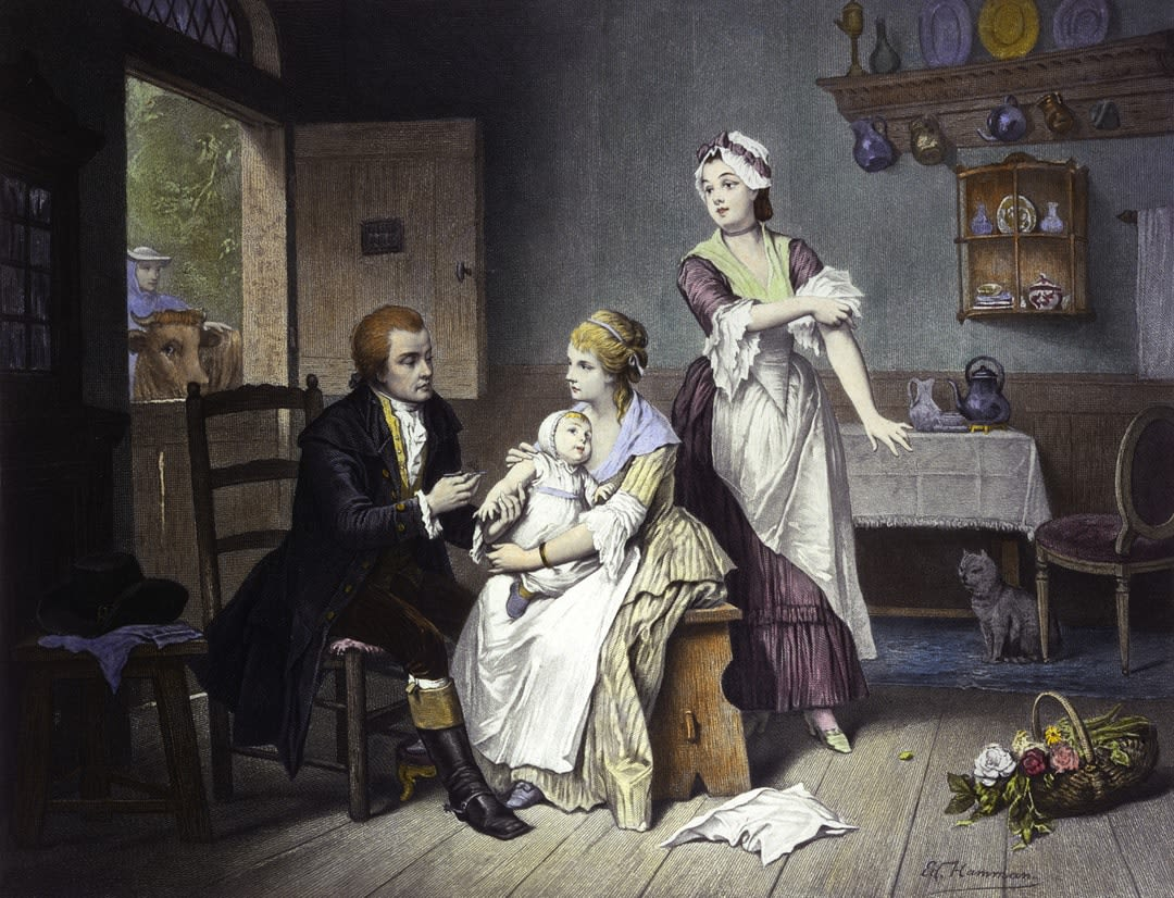 <em>Edward Jenner vaccinating his child