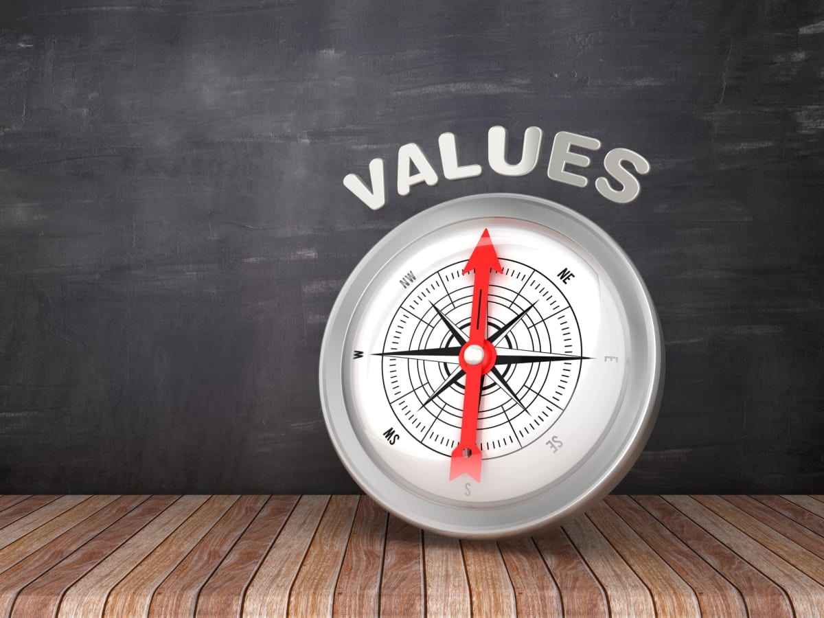 Compass pointing to the word VALUE