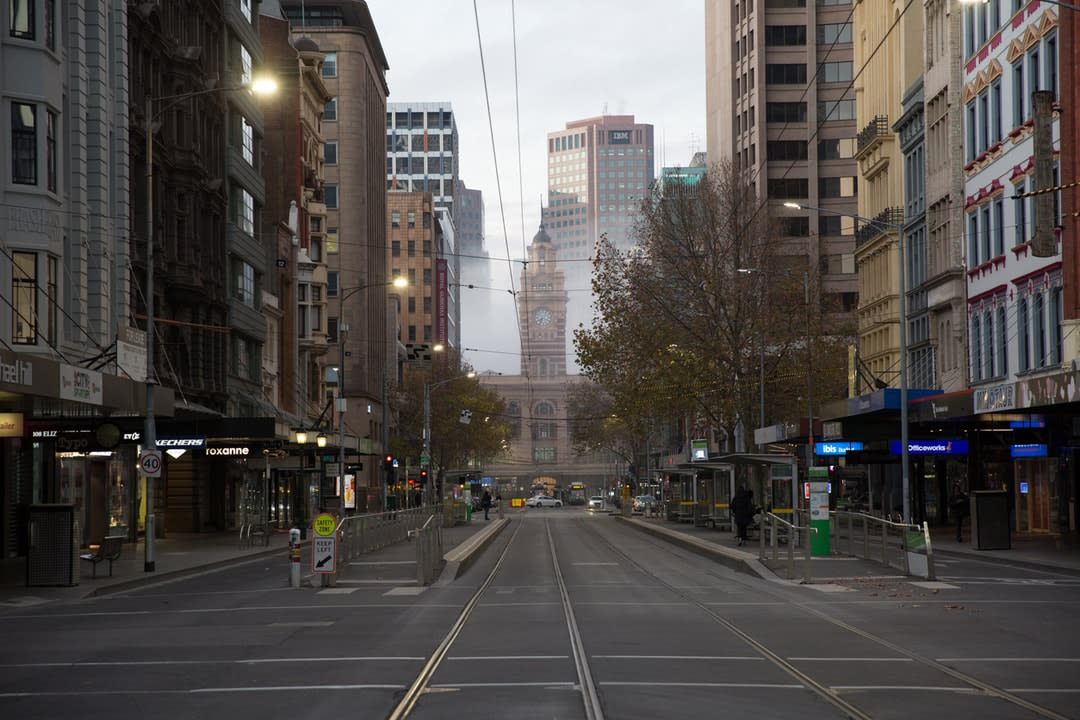 Empty city streets in downtown Melbourne during COVID-19 restrictions