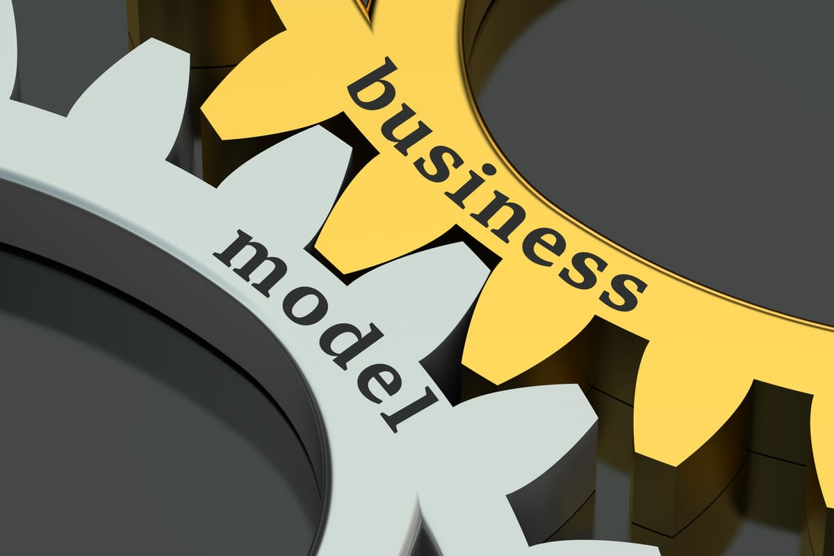 Image of wheel cogs aligning with the words 'business model'