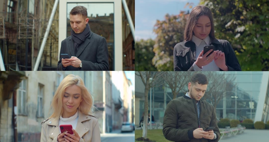 montage photo of people using their mobile phones.