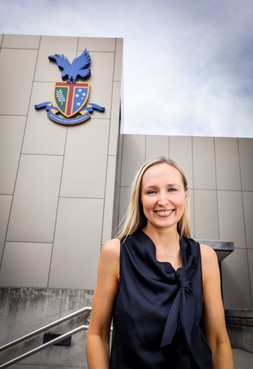Nikki Kirkup, deputy principal of The Knox School, outside the school's main building