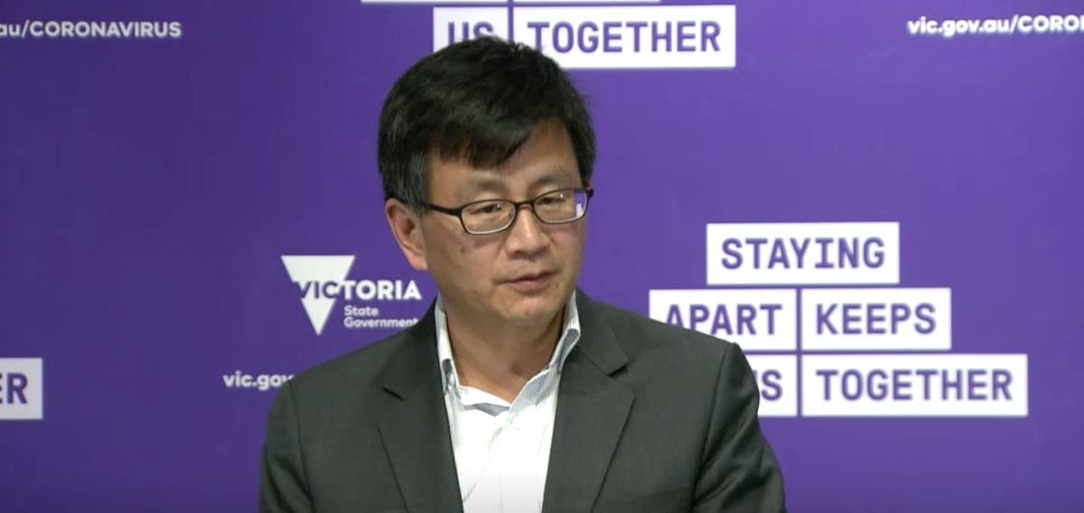 Professor Allen Cheng speaking at a Victorian government press conference
