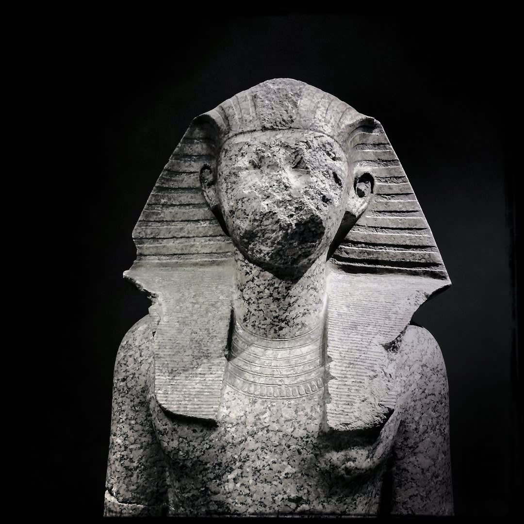 The disfigured statue of Pharaoh Hatshepsut.