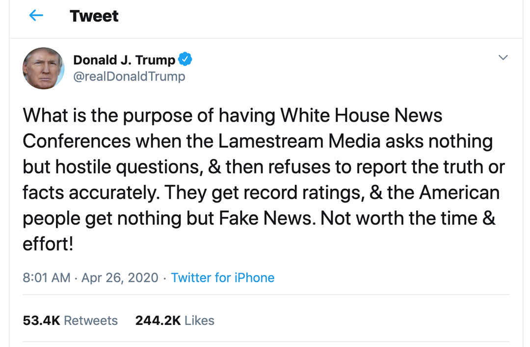 President Trump's twitter post about cancelling daily briefings