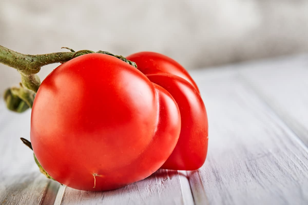 A misshapen tomato