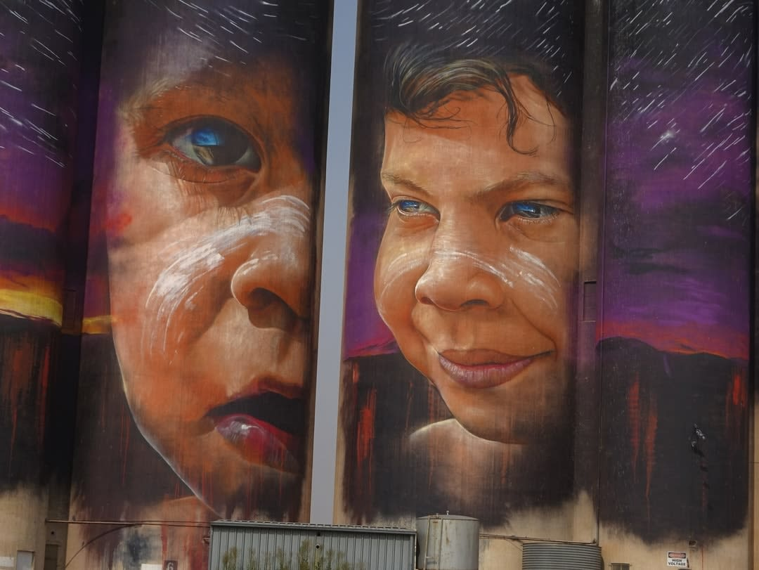 Indigenous silo mural.