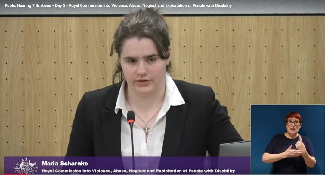 Picture of 17-year-old- Maria Scharnke giving evidence at the disability royal commission, with an inset of her sign translator in the bottom right corner