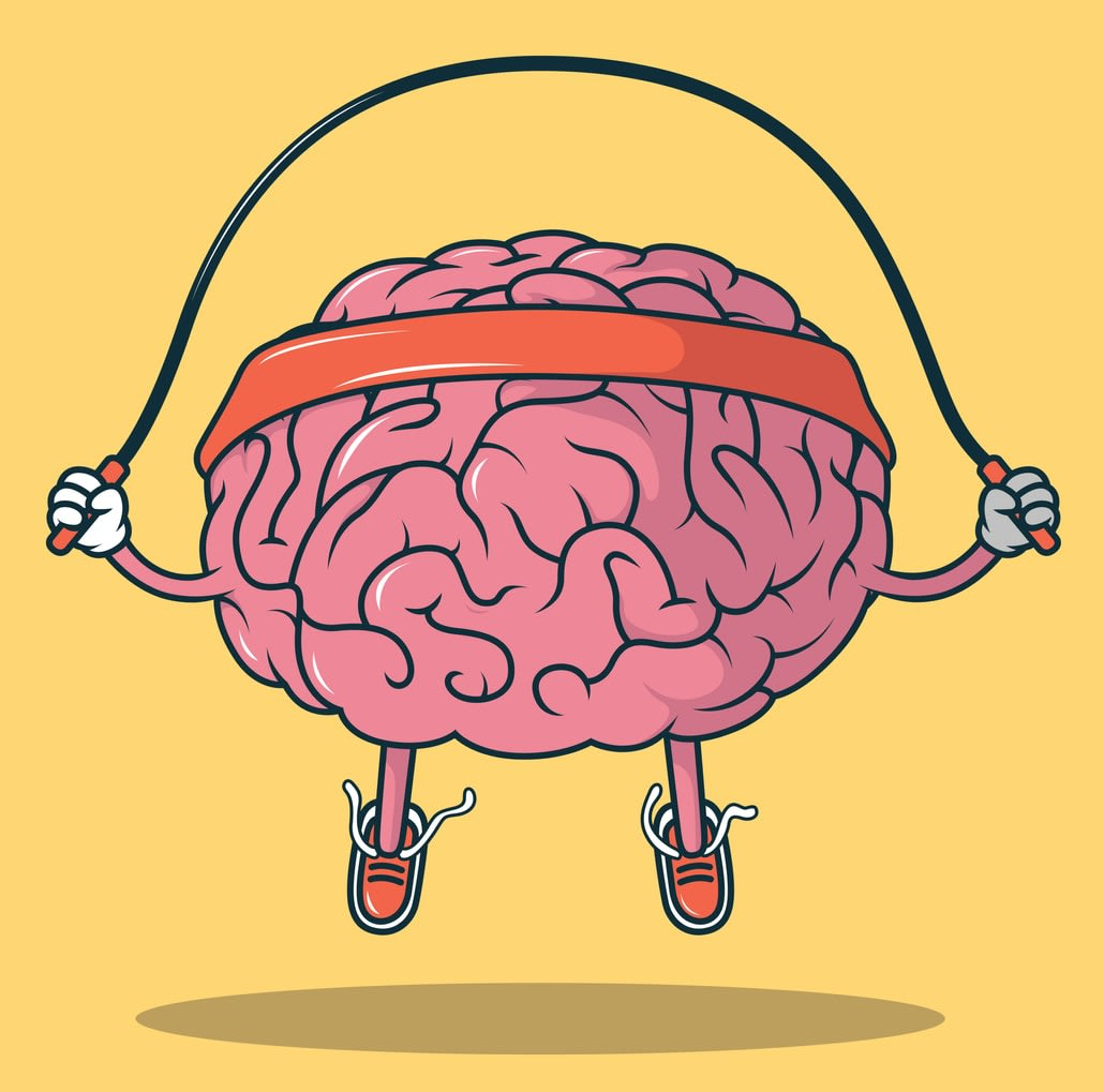Illustration of a human brain wearing a headband, while skipping rope