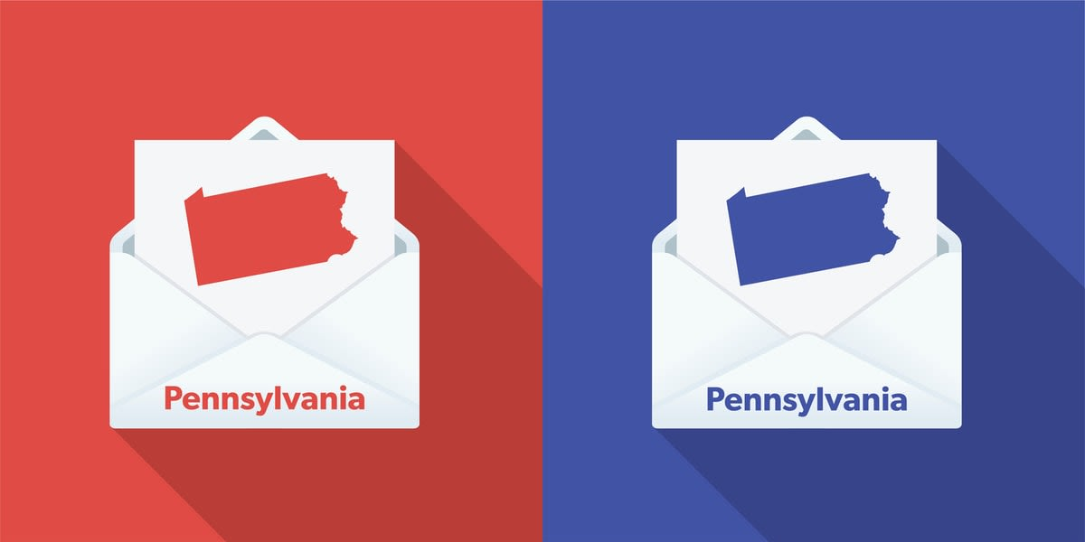 Illustration of side-by-side Pennsylvania ballot papers, Republican and Democrat