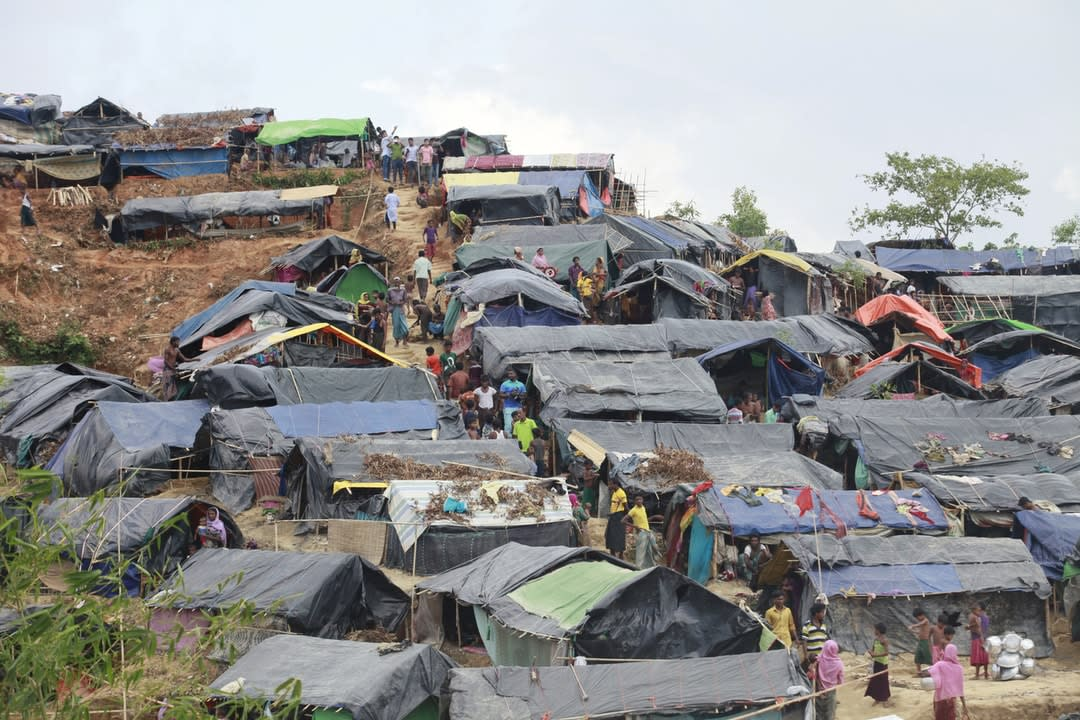 Shelters and landscape at Jamtoli refugee camp near Cox's Bazar in Bangladesh