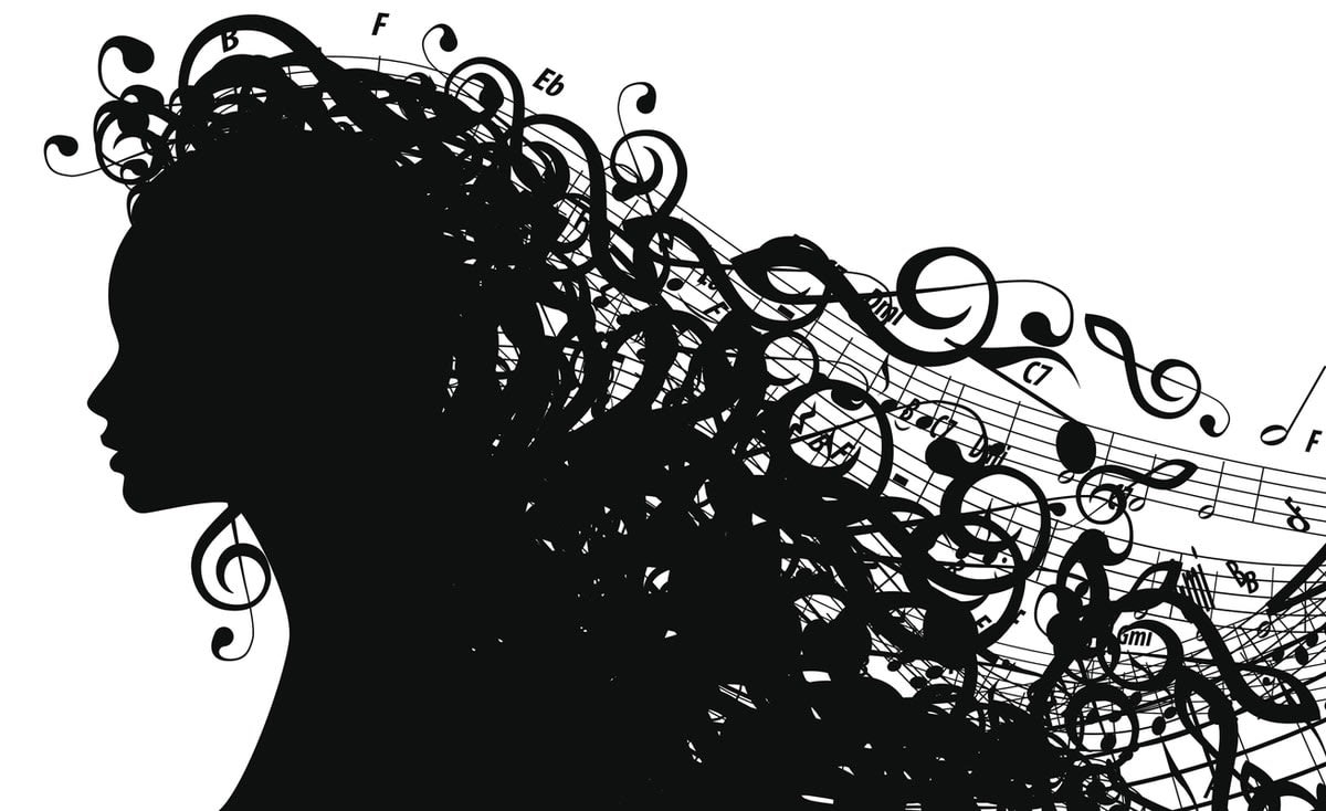 Illustration of a woman with flowing musical notes as hair, in silhouette