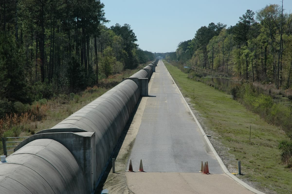 One of the 4km-long arms of the LIGO gravitational wave detector in the US