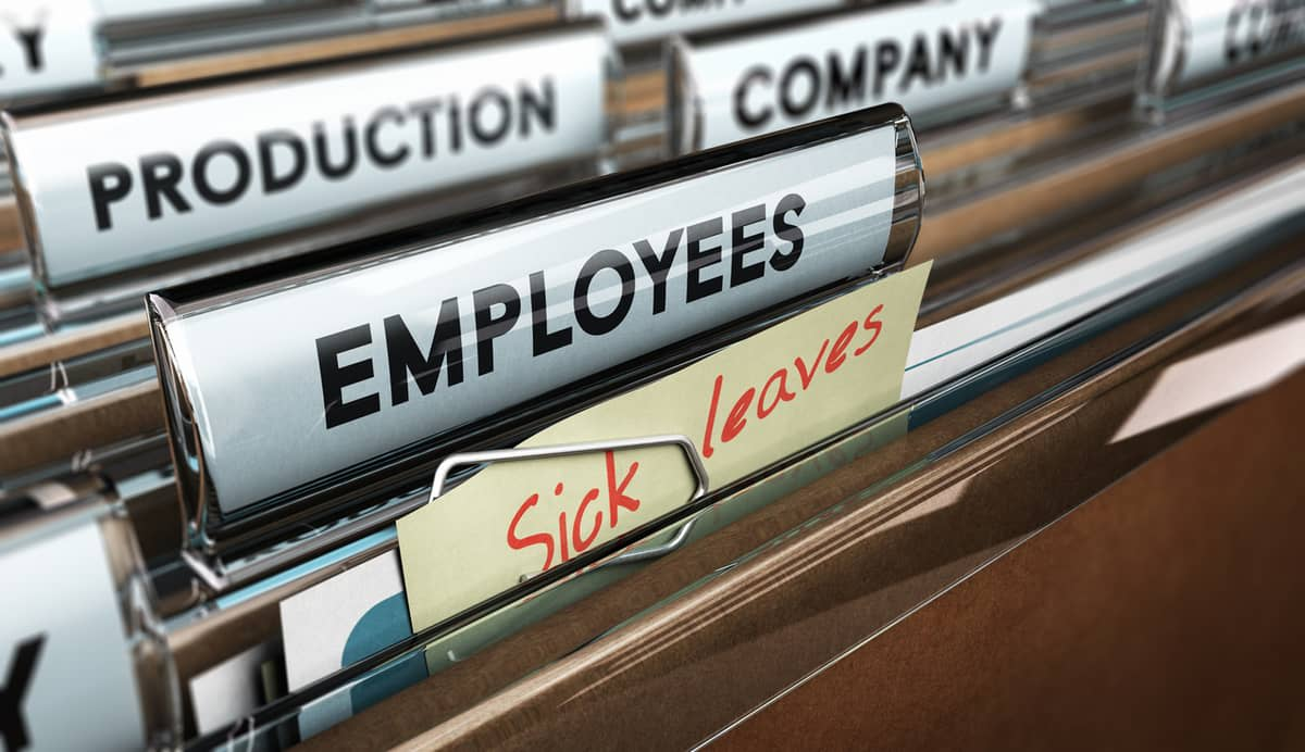 Files in a cabinet with labels reading 'production', 'employees', company', and 'sick leave'