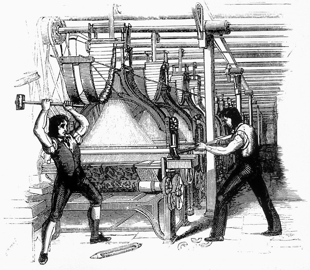 An 1812 drawing of two men smashing a weaving mill with sledgehammers