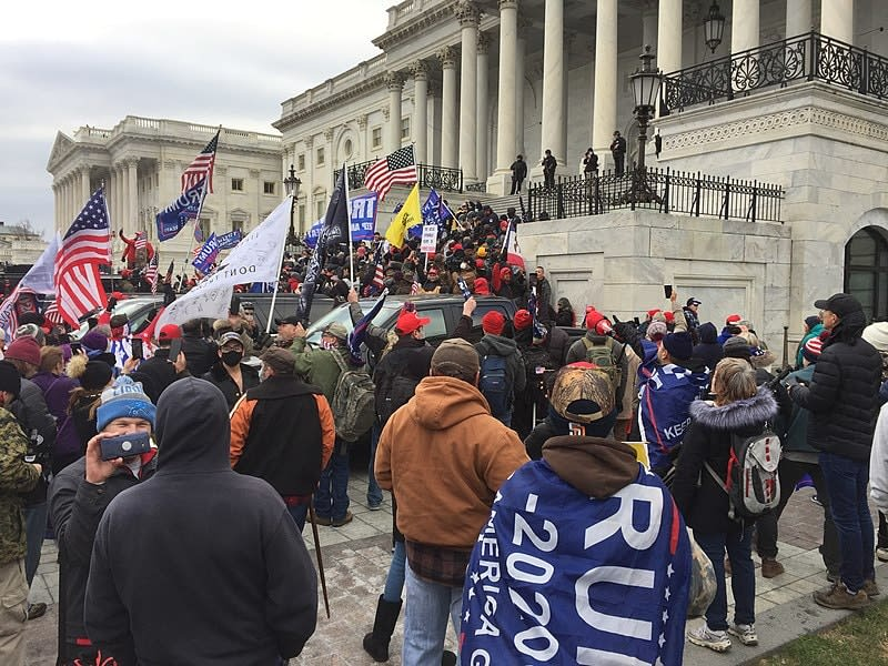 Crowd of Trump supporters marching on the US Capitol on 6 January 2021