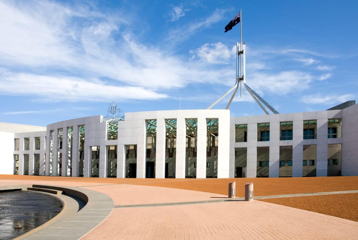 External photo of the Australian Parliament in Canberra