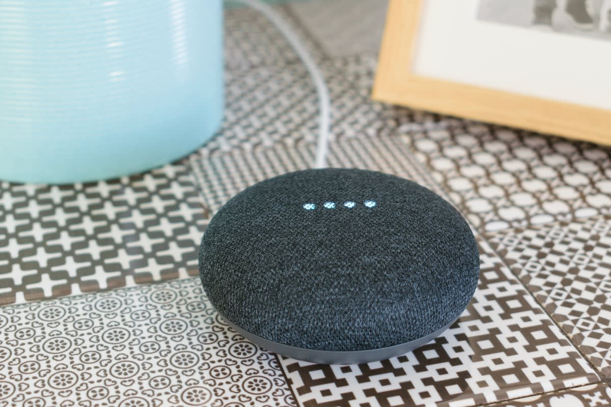 A Google mini voice-activated speaker