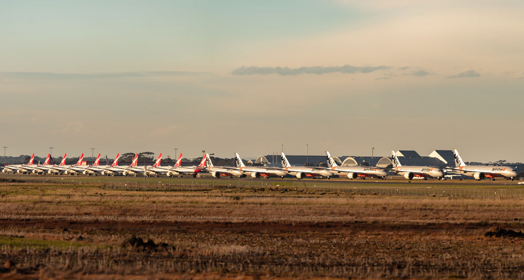 Qantas and Jetstar planes grounded during 2020 COVID-19 pandemic.