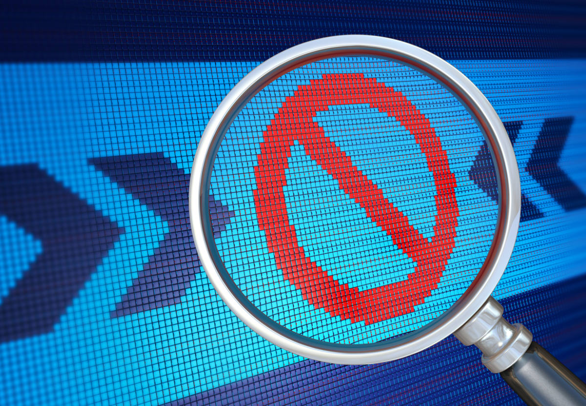 No' sign symbol on pixelated background