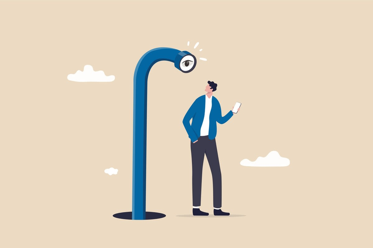 Illustration of a man holding a mobile phone, being watched by a giant periscope with an eye