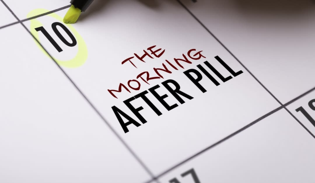 A calendar with the words morning after pill written on it.