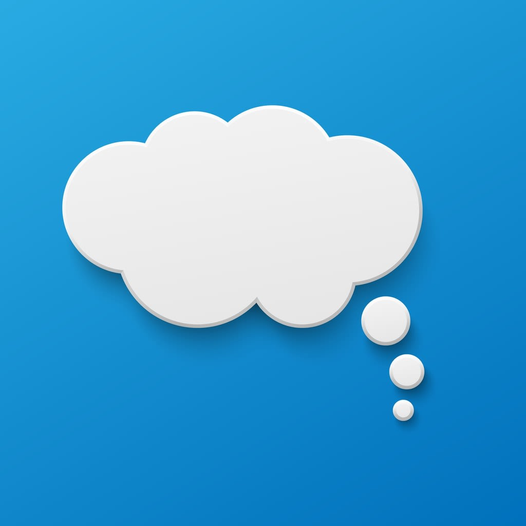 A blank white thought bubbke against a blue background.