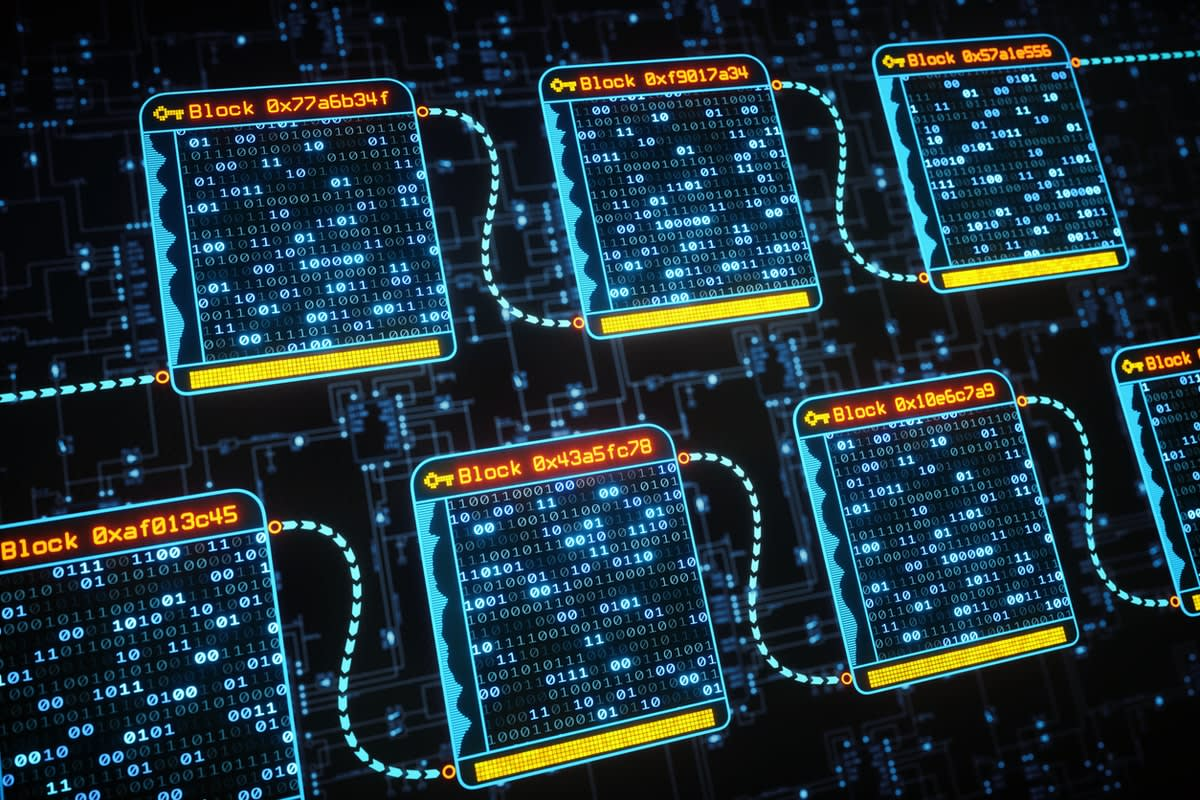 Digital image representing blockchain technology, featuring boxes of 0s and 1s