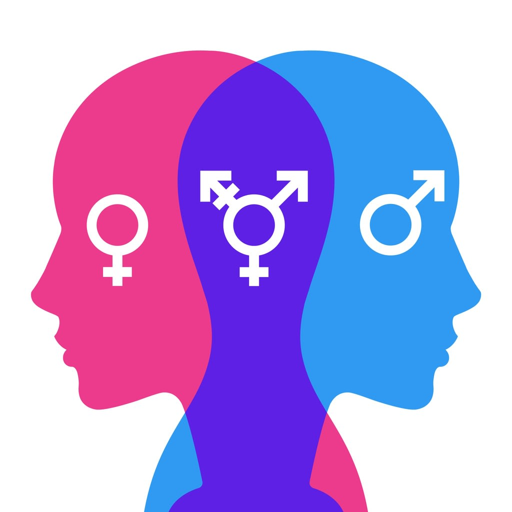 Illustration of coloured heads facing away from each other, with the male, female and non-binary symbols superimposed
