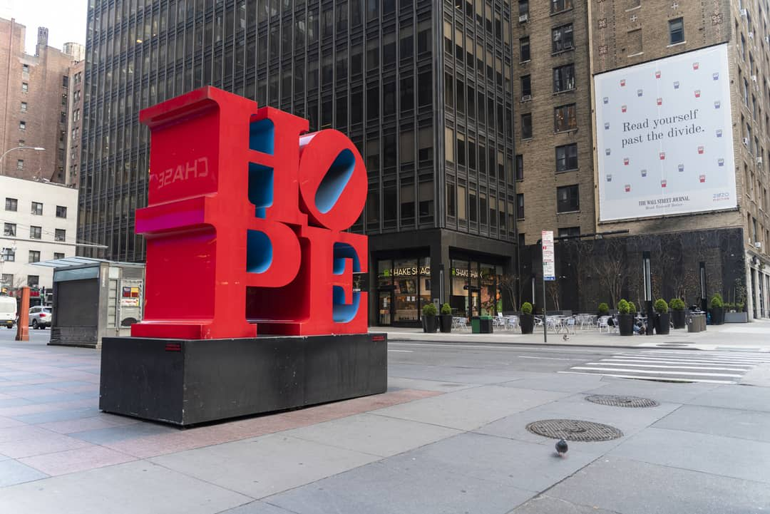 HOPE sculpture by Robert Indiana on the streets of Midtown Manhattan