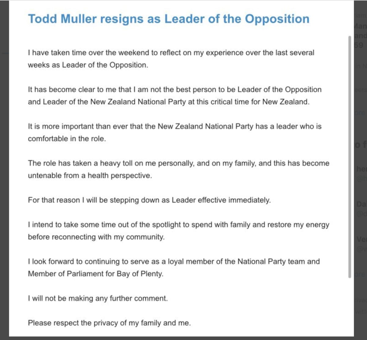 New Zealand opposition leader resigns two months out from election