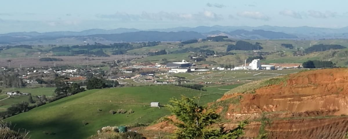 The big Synlait milk processing plant towers over the farming community of Pokeno, south of Auckland. Photo: Supplied