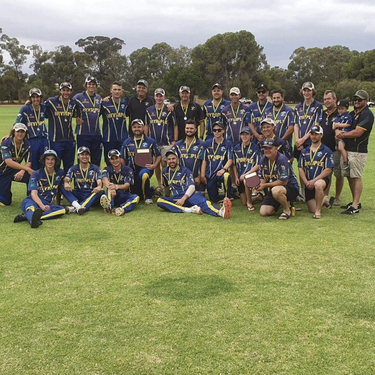 Irymple Cricket Club celebrate their First and Second division White Ball Cup grand final victories.