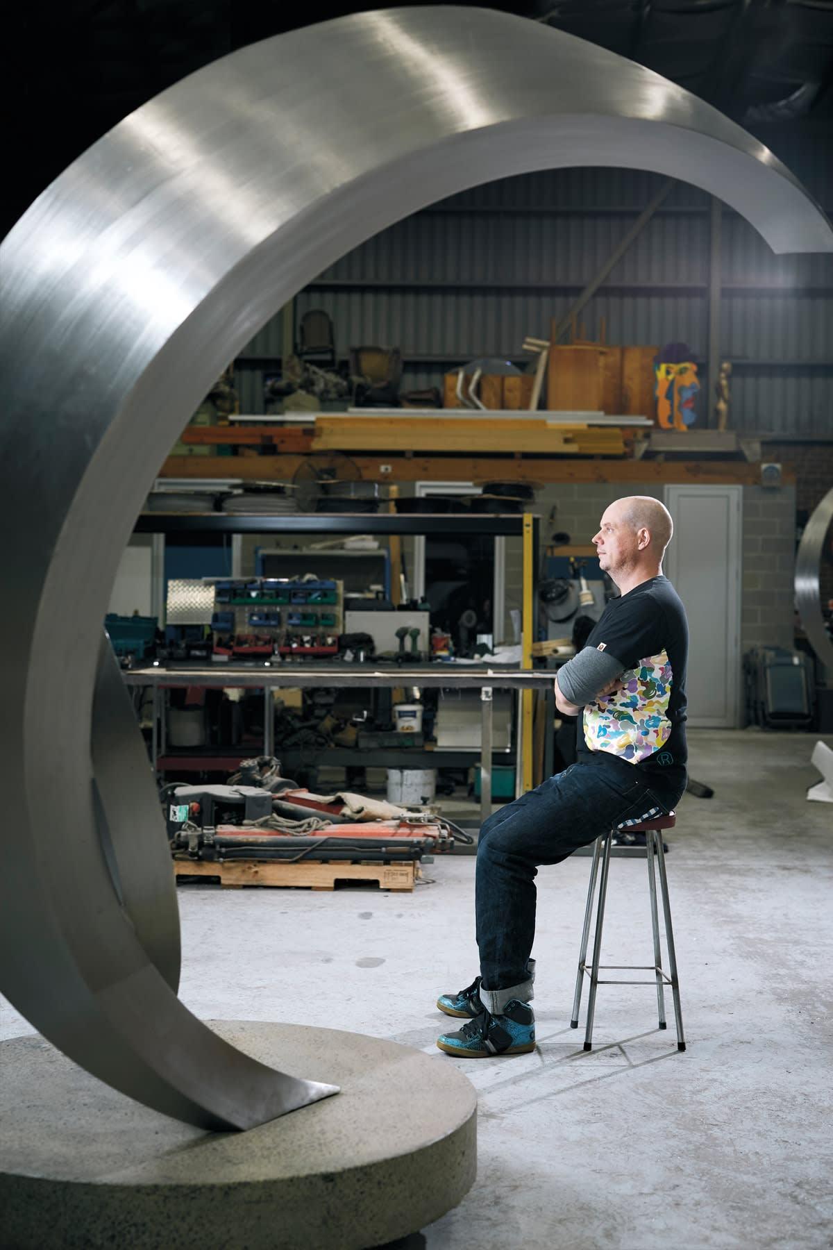 James Parrett, in his studio