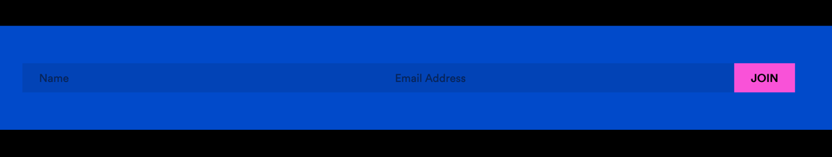 A blue form to submit a subscription to an email newsletter