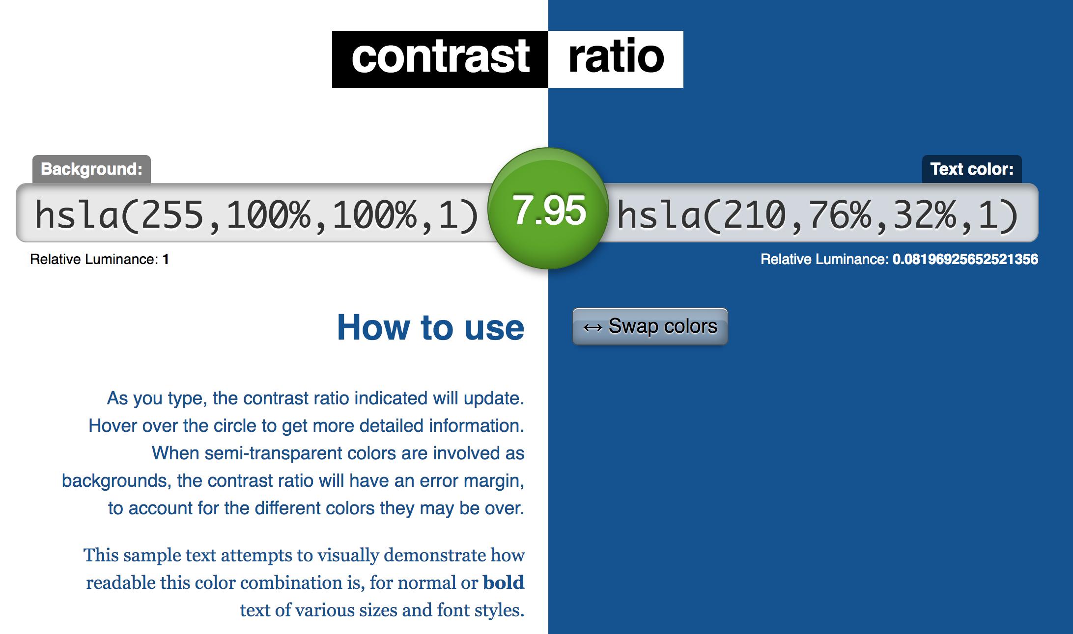 Lea Verou's Constrast Ratio website for color contrast checking