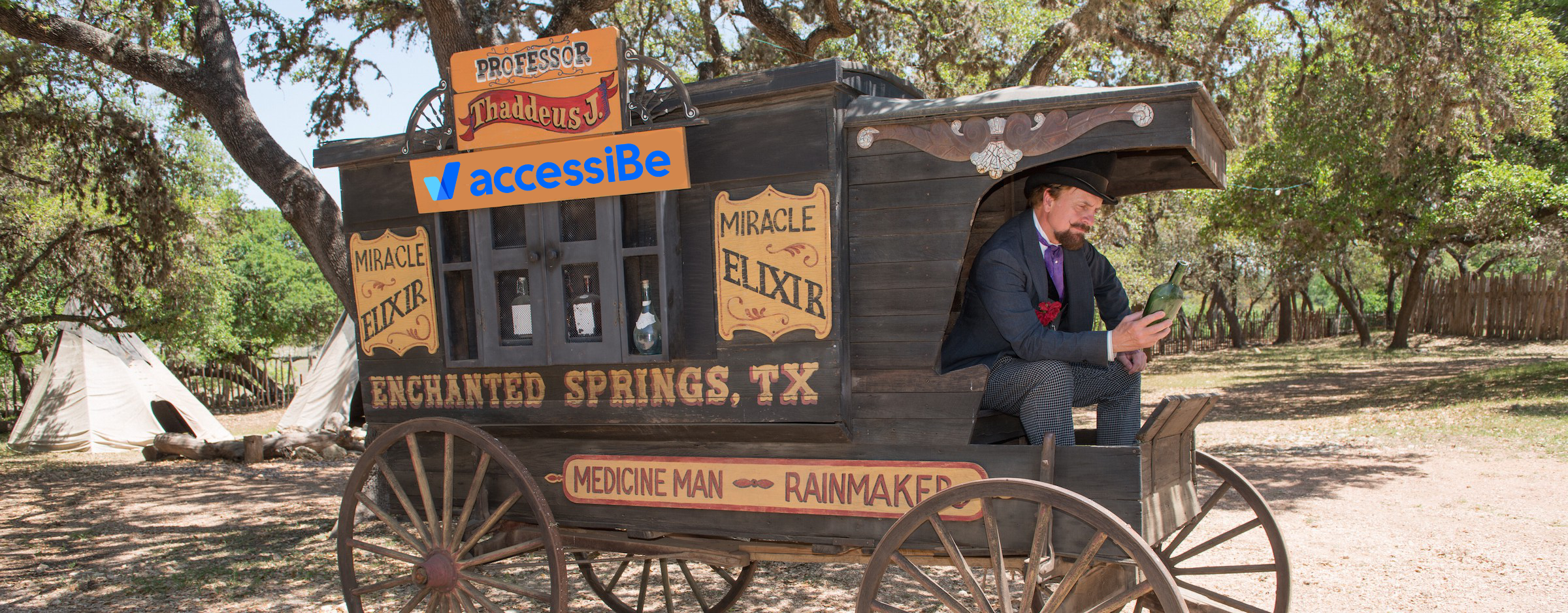 A snake oil salesman on his wagon where he sells snake oil that has the AccessiBe logo Photoshopped on the side of the wagon.